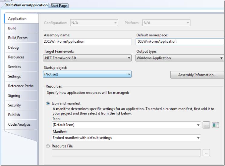 2005WinFormApplication - Microsoft Visual Studio