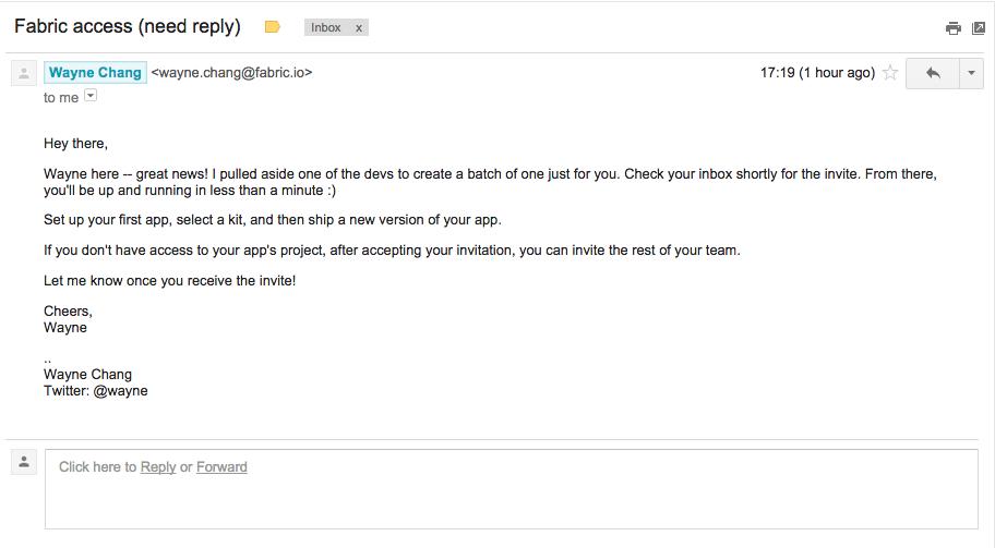 Twitter Fabric Invite Email