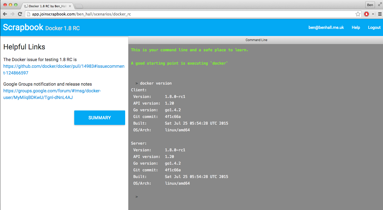 Docker 1.8 on Scrapbook